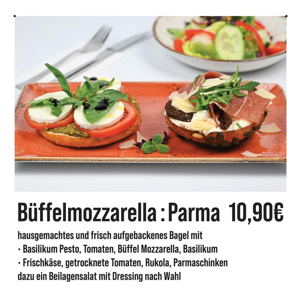 Bagels-Bueffelmozzarella-Parmaschinken